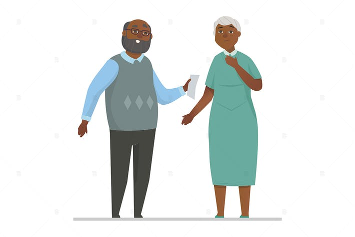 Senior couple - flat design style illustration