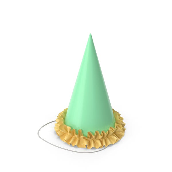 Green Party Hat with Yellow Frill