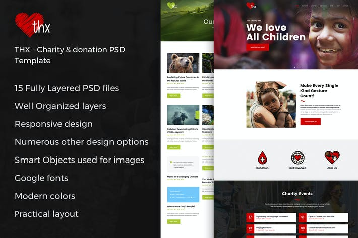 Thumbnail for THX - Charity & donation PSD Template