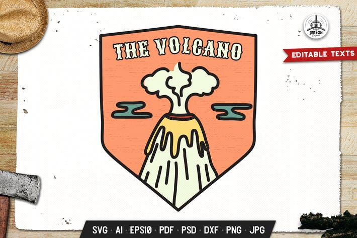 Thumbnail for Insignia Volcano, Vector Adventure Retro Graphic