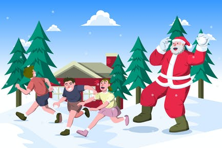 Kids Play Snowball with Santa Claus Illustration