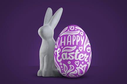 Easter bunny with egg mockup