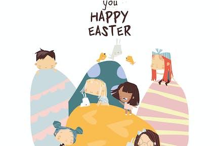 Ilustración de Pascua de dibujos animados con niños pequeños