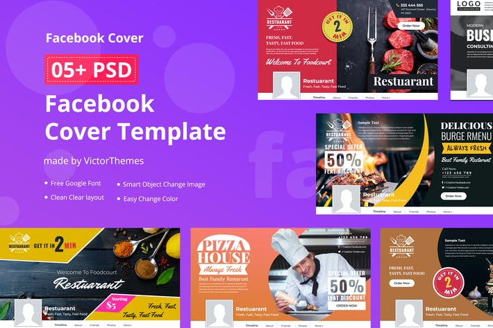 Thumbnail for Facebook Restaurants Cover Template