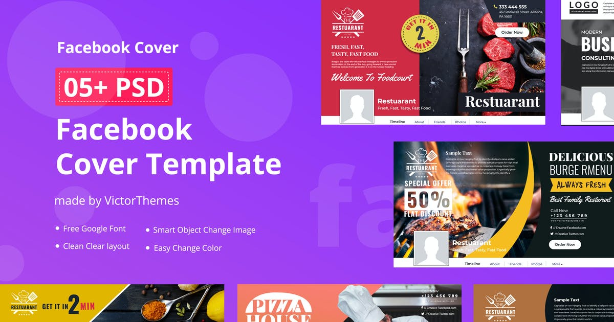 Download Facebook Restaurants Cover Template by VictorThemes