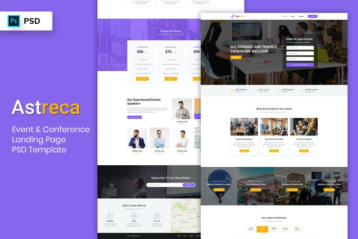 Thumbnail for Event & Conference - Landing Page PSD Template-02