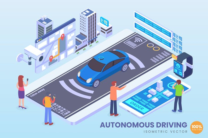 Thumbnail for Isometric Autonomous Driving Vector Concept