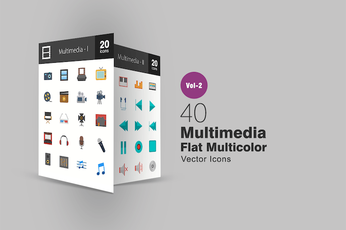 Thumbnail for 40 Multimedia Flat Multicolor Icons