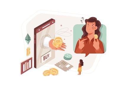 Cómo comprar Bitcoin Illustration Concept