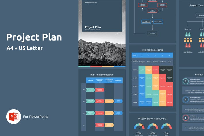Thumbnail for Project Plan - A4 Vertical PowerPoint Template