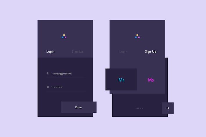 Thumbnail for Dark Registration App Screens