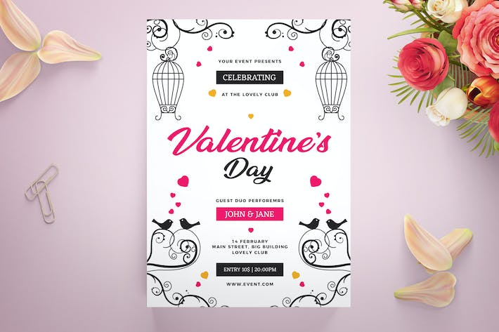 Thumbnail for Valentine's day paty flyer template