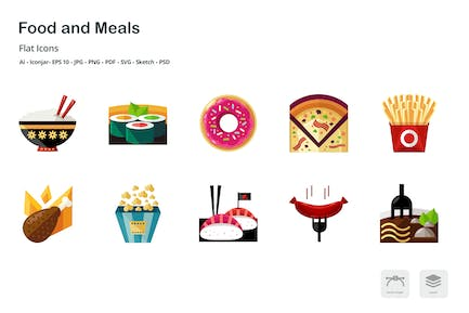 Food and Meals Flat Colored Icons