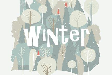 Vector de dibujos animados bosque de invierno. Fondo de Navidad