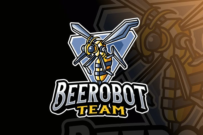 Thumbnail for Bee Robot Logo Template