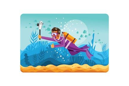 Ilustración del fotógrafo submarino
