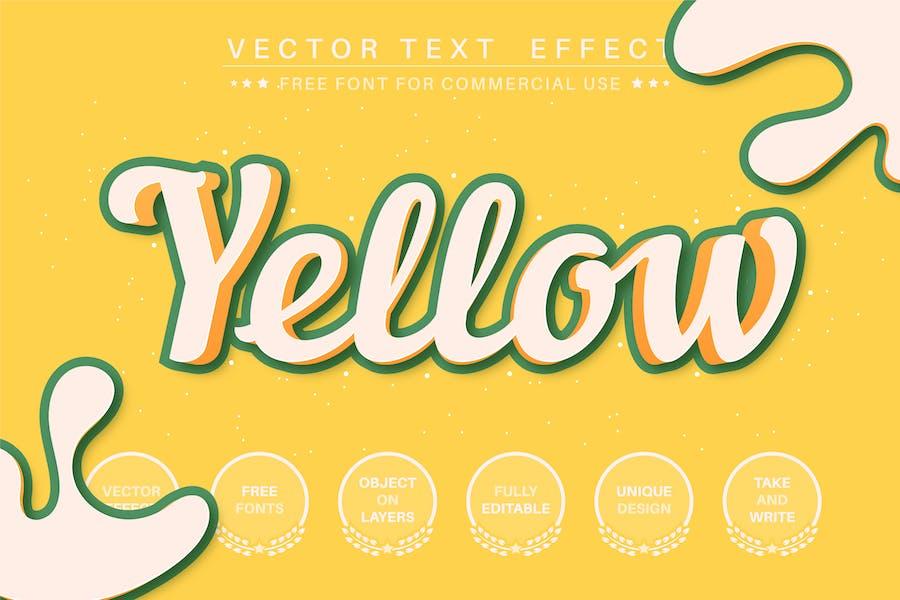 3D желтый - редактируемый текстовый эффект, стиль шрифта
