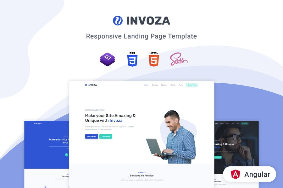 Invoza - Angular 10 Landing Page Template - product preview 0