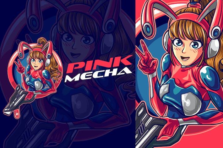 Thumbnail for Cute Mecha Gamer Girl Esports Mascot Logo