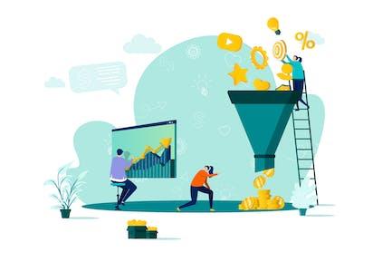Marketing Funnel Flat Concept Vector Illustration