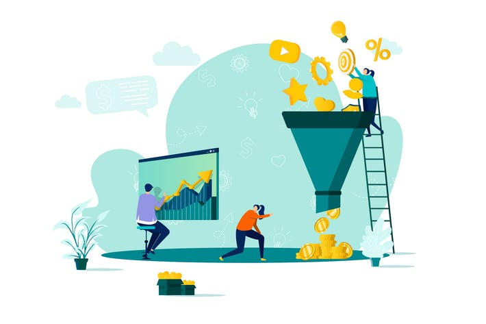Маркетинговая воронка Плоская концепция Вектор иллюстрация