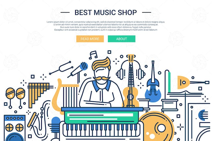 Thumbnail for Best Music Shop - website header banner template