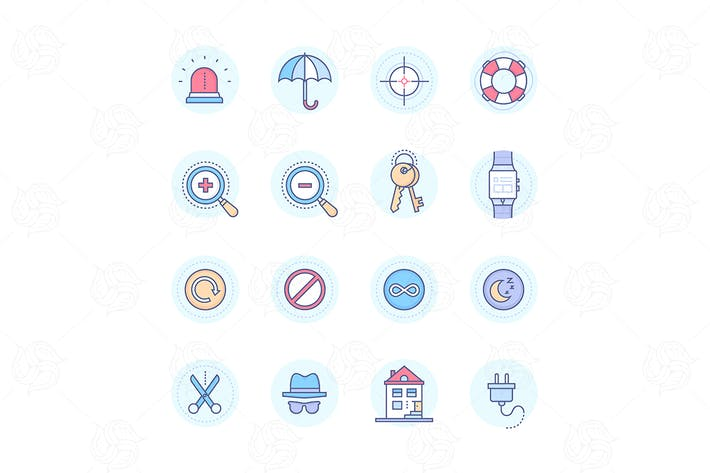 Thumbnail for Security & data protection - line icons set