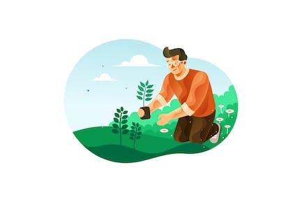Man planting trees for greening illustration
