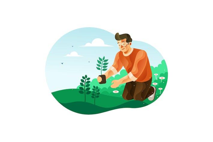 Thumbnail for Mann Pflanzen Bäume für die Begrünung Illustration