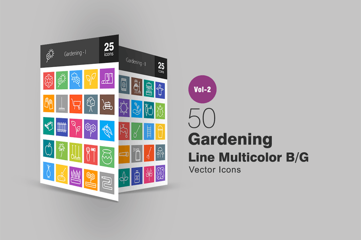 Thumbnail for 50 Gardening Line Multicolor Icons