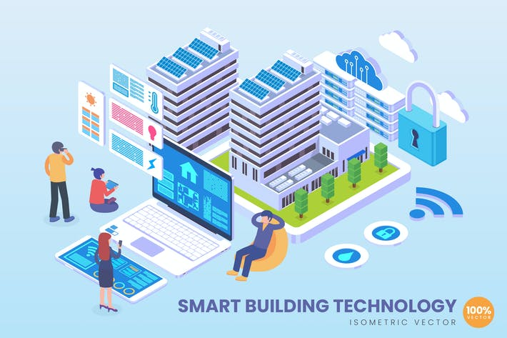 Thumbnail for Isometric Smart Building Technology Vector Concept