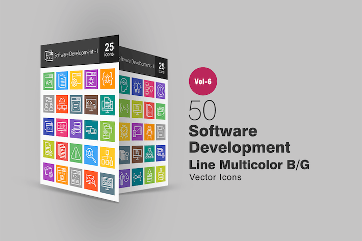 Thumbnail for 50 Software Development Line Multicolor B/G Icons