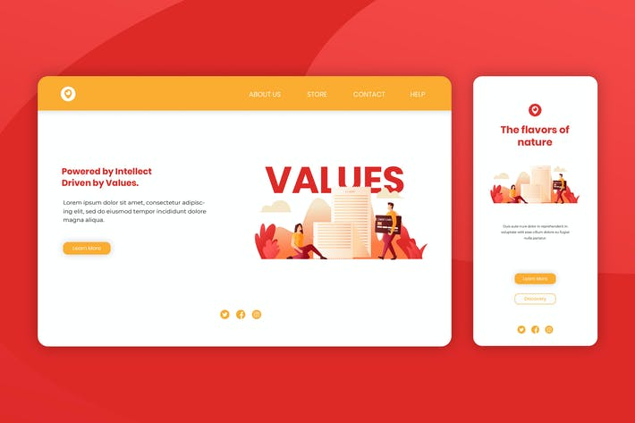 Thumbnail for Illustration Landing Page & Onboarding Mobile App