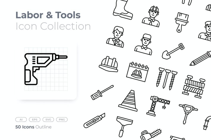 Thumbnail for Labor and Tools Outline Icon