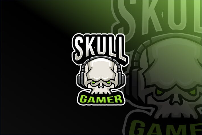 Thumbnail for Skull Gamer Esport Logo Template