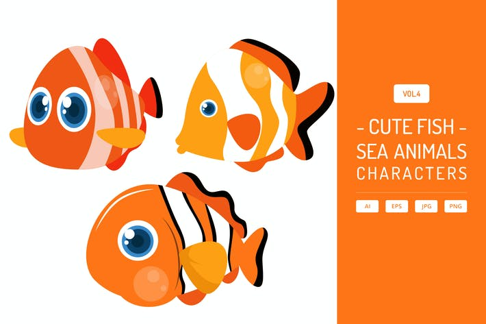 Thumbnail for Cute Fish - Sea Animals Characters Vol.4