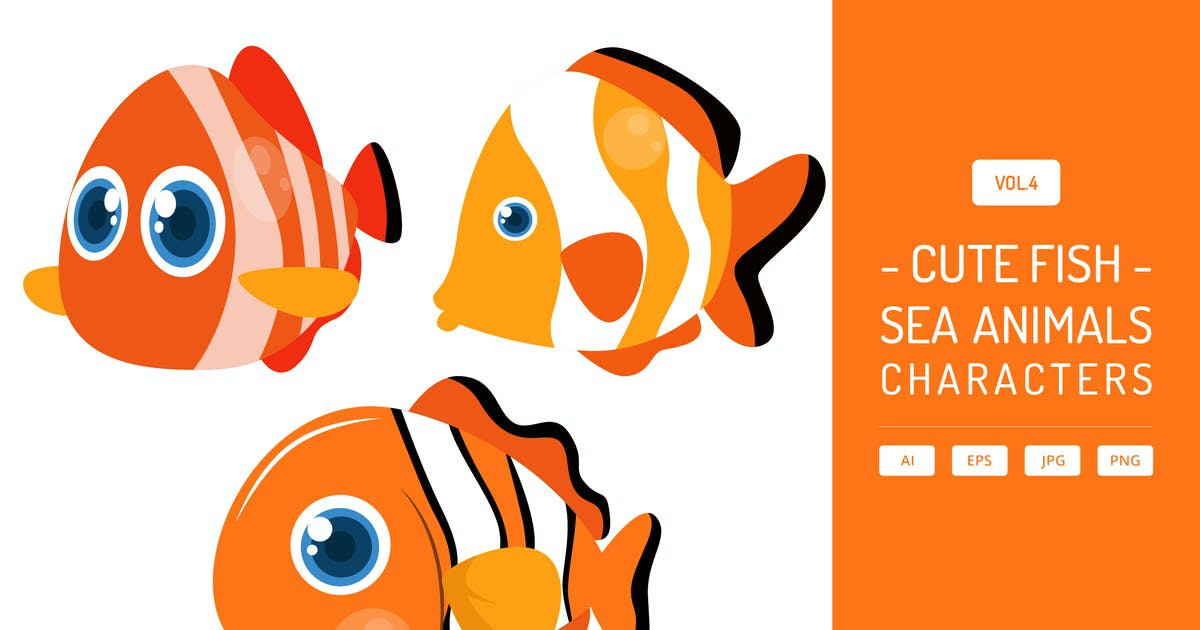 Download Cute Fish - Sea Animals Characters Vol.4 by Graphiqa