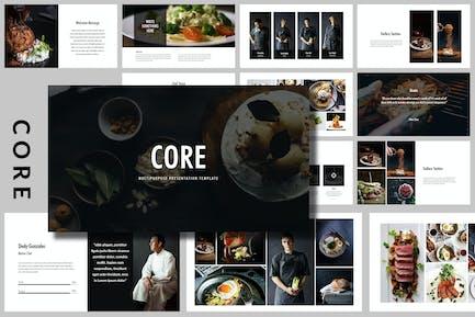 Core - Еда и напитки Творческий Шаблон Powerpoint