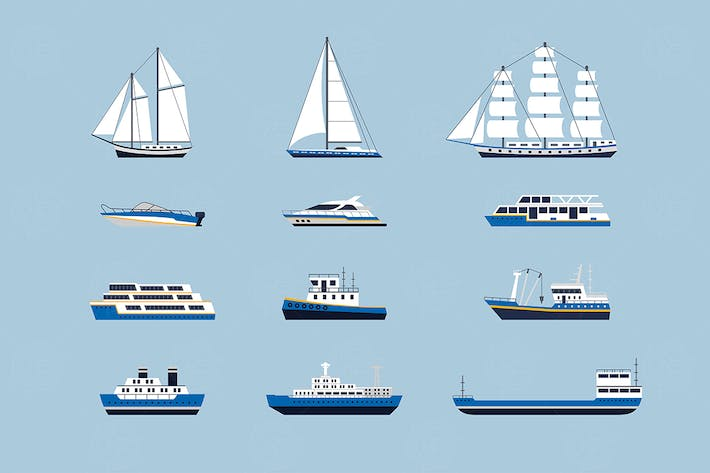 Thumbnail for Water Transport -  set of vector objects
