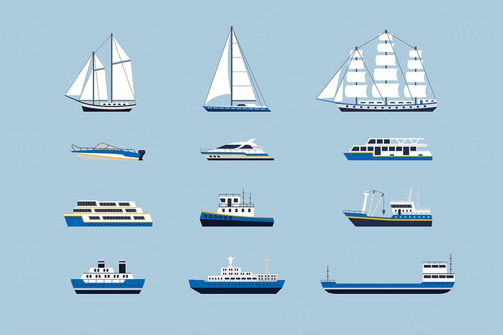 Water Transport -  set of vector objects