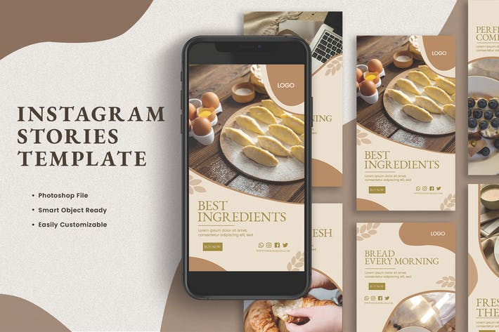 Thumbnail for Soft Milk Bread Instagram Stories Template