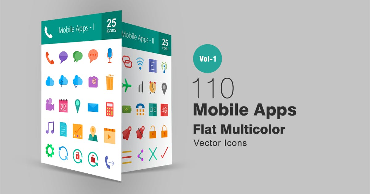 Download 110 Mobile Apps Flat Multicolor Icons by IconBunny