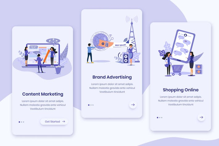 Thumbnail for Marketing Advertising Onboarding App Screens