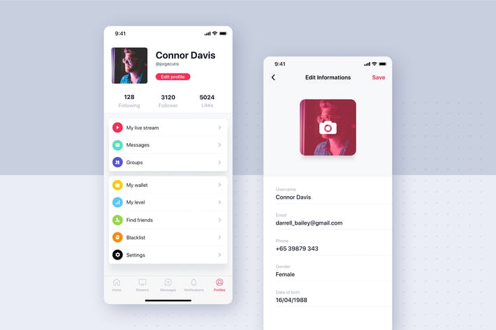 Thumbnail for Social mobile app UI concept