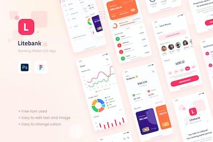 Litebank - Bank-Geldbörse iOSApp Design-Benutzeroberfläche