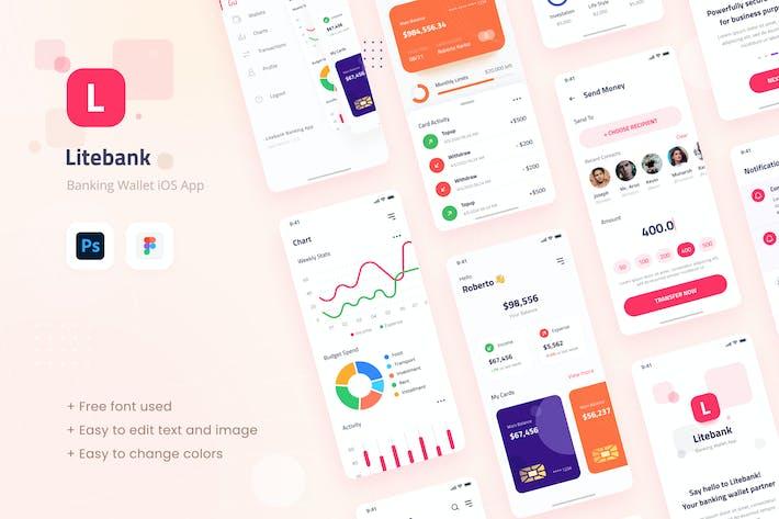 Thumbnail for Litebank - Portefeuille bancaire iOS Appli Design