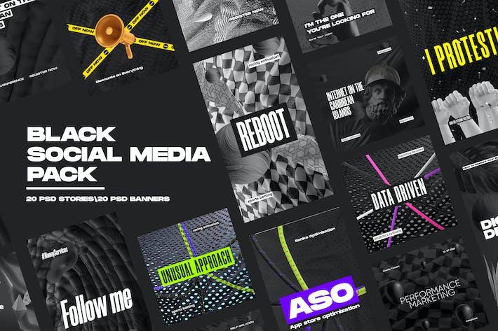 Thumbnail for Pack de redes sociales negras