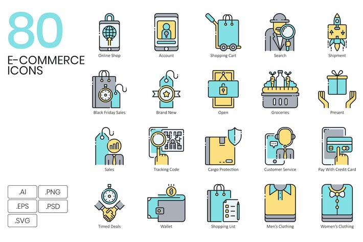 Thumbnail for 80 E-Commerce Icons