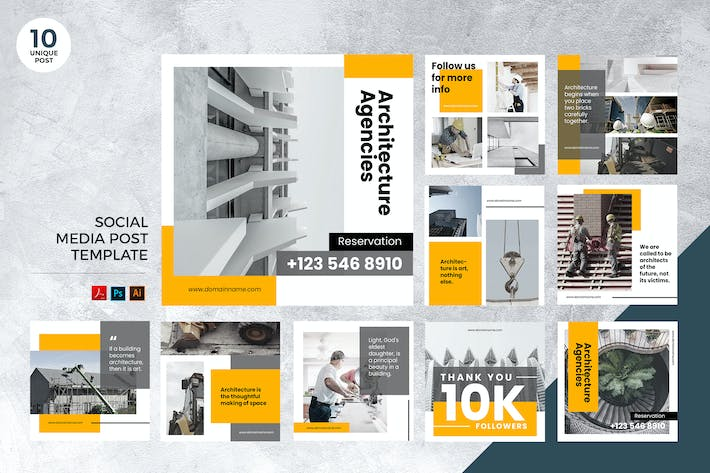 Thumbnail for Architecture Social Media Kit PSD and AI
