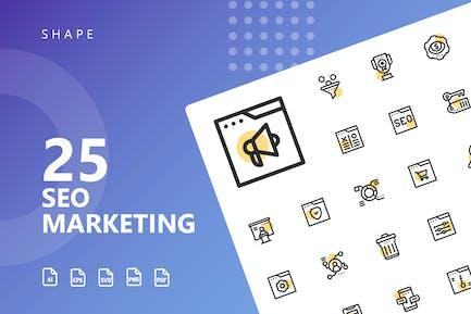 SEO Marketing Shape Icons